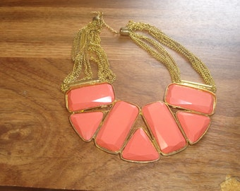 vintage necklace goldtone chains coral colored lucite