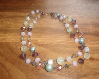 vintage necklace double strand glass beads