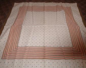 vintage scarf bandana rn 13962 all cotton brown pink polka dots hankie handkerchief