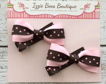 Set Pink Brown Dotted Bow Hair Clips, Alligator Clips, Girls Hair Clips, Bow Hair Clips, Hair Clips, Hair Clips Sets
