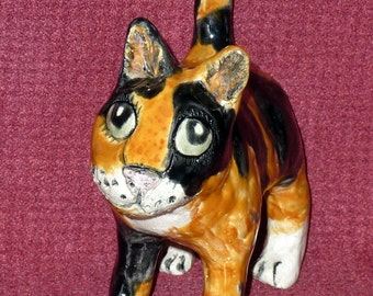 Calico Cat handmade in Us from a lump of clay totally unique