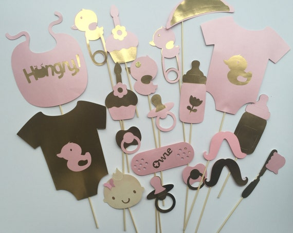 PINK AND GOLD girl baby shower photo booth props, centerpiece decorations or candy buffet decor.