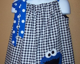 Cookie Monster Dress, Sesame Street Dress, Pillowcase Dress, Black and White Checks, Royal Blue and White Polka Dot, Size 6 mo to 14