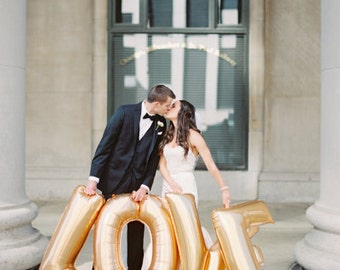 "LOVE Gold Mylar Balloons {Engagement party, Engagement pictures, wedding} 40"" Oversized balloon"