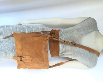 BOHO suede leather bag and obi belt in CARAMEL BROWN. Soft natural leather bag. Genuine suede set of bag and belt.