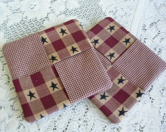 Rustic Pot Holders Set of 2 - Red Blue Primitive Fabric Potholders - Americana Hot Pad Kitchen Decor - Country Cottage Decor
