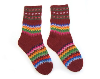 Warm and Vibrant Woolen Socks. Size M