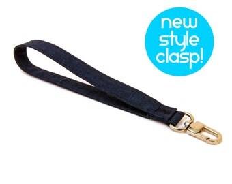 Wrist Strap by MinneBites / Dark Navy Blue Lanyard Strap - Handmade Fabric Wrist Strap - Mens Vegan Key Fob - Wallet Strap - Ready to Ship