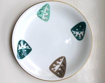 Rare Modernist Salad / Dessert Plates Gold Trim Noritake Bone China Set of 6 1950's