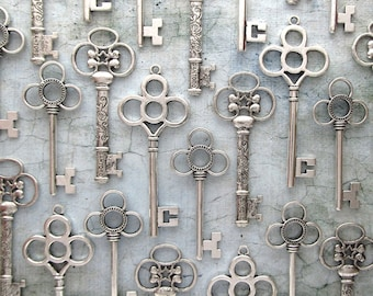 The Viola Collection - Skeleton Key Assortment in Antique Silver - Set of 30 Keys - 3 STYLES