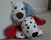 Keepsake stuffed puppy, keepsake animal, custom order memory puppy, baby clothes stuffed animal, remembrance stuffed animal