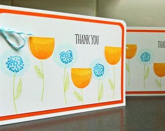 Scandinavian Print Thank You Cards Set of 2, Modern Floral Thank You Notes Set