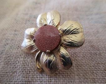vintage copper glittery goldstone flower pin - gold, goldtone