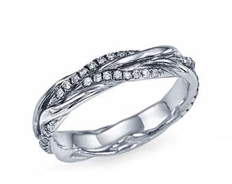 Designer Platinum Ring , F Diamond Ring , Size 8 Wedding Band Valentines Day Gift