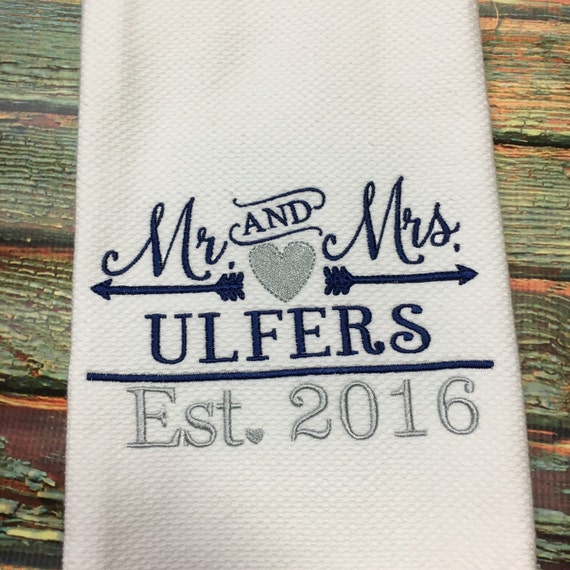 Personalized Wedding Gifts Kitchen : Personalized Kitchen Towel Wedding Gift Dish Towel by NolaBows