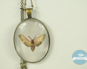 Handembroidered Needlepainted Moth Necklace Pendant