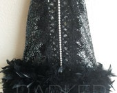 ON SALE! Black Gatsby Feather & Sequin Gown , Birthday Dress, flower girl dress , holiday dress