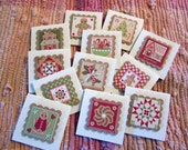 Country Christmas folded tags  Set of 12