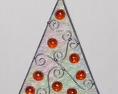 Stained Glass Suncatcher - Iridescent Christmas Tree with Red Jewel Decorations, Ornament, Wire scroll