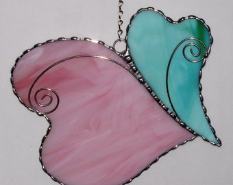 Stained Glass Suncatcher - Double Hearts with Wire Scroll Overlay, Valentine Heart, Valentine's Day Gift