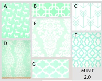 Custom Baby Crib Bedding- Design Your Own Modern Bedding-Dorm Bedding- Glider Cushions- Mint 2.0