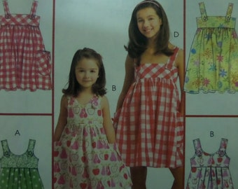 HIGH WAIST SUNDRESS Pattern • McCall's 5613 • Girls 3-6 • Button Strap Dress • Pullover Flare Dress • Children's Patterns • WhiletheCatNaps