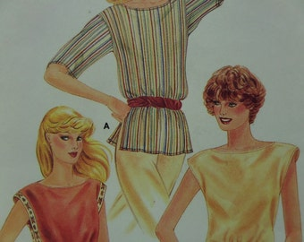 BATEAU NECK BLOUSE Pattern • Butterick 3798 • Miss 12-14 • Pullover Top • Elastic Waist Top • Retro Tops • Vintage Pattern • WhiletheCatNaps