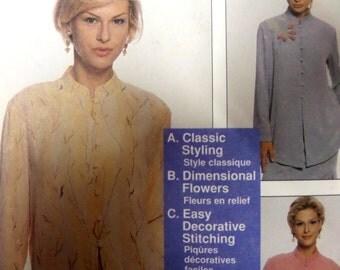 "1998 Mandarin Collar Button & Loop Oriental Flare Top Pattern McCall's 9238 Miss 8-22 Bust 32.5-44"". NANCY ZIEMAN PATTERN at WhiletheCatNaps"