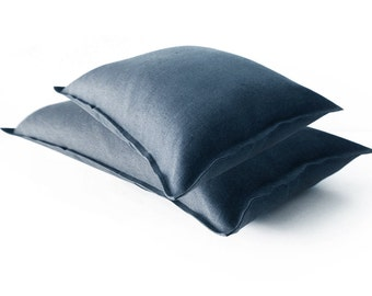 Indigo linen pillow cover Lumbar decorative pillow cover or Square washed cushion