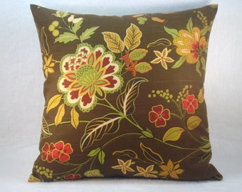 Indoor/Outdoor Pillow Brown Floral Pillow Home Accents Decorative Toss Pillow 18x18 Pillow Cover