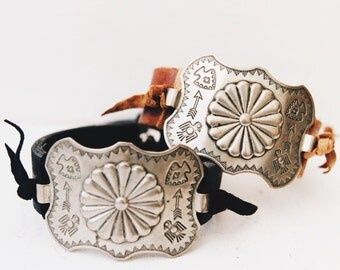 CBC-13, handmade adjustable repurposed vintage stamped concho learher bracelet