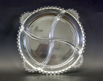 Vintage Candlewick Divided Clear Glass Serving Dish (E849)