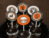 Camo Deer Hunting realtree Cupcake Toppers Birthday Party  PRINTABLE Cupcake Toppers camouflage orange realtree DIY