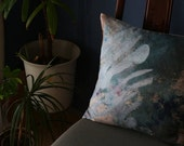 "ON SALE Plant motif pillow. In the Greenhouse / Linen Squart Cushion 18""x18"".  Green..  /  FRAGMENTS"