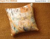 "ON SALE Ethnic Linen & recycled burlap ooak accent throw pillow case. squart 12"" x 12"" .. / ETHNICS Moments. Bohemian rustic interior"