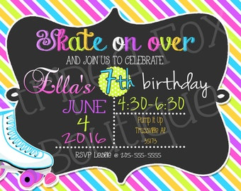 Roller Skate birthday invitation l Skating Rink party l Polka Dot l 5x7 I Instant Download I Print at home