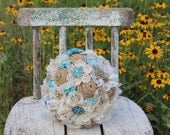 Custom order for Donna - burlap and lace wedding bouquets