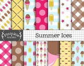 50% OFF SALE Summer Digital Paper Pack, Ice Cream Scrapbooking Paper Digital, Ice Cream Cone, Lollies, Instant Download, Commercial Use