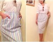 80s Breakfast Club Pastel Pinstripe Midi Skirt
