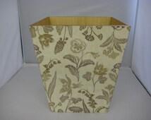 Linen Flower Waste Paper Bin Trash Can Handmade Wooden