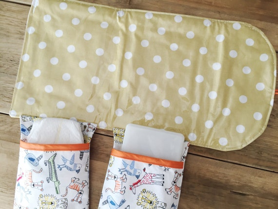 items similar to travel changing pad diapering on the go saffron yellow with white dots on etsy. Black Bedroom Furniture Sets. Home Design Ideas