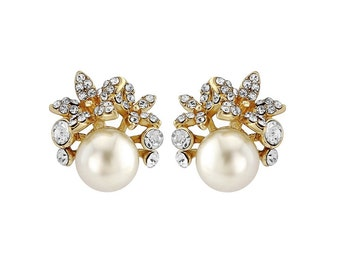 gold studs, Gold bridal stud earrings, gold crystal studs, gold ivory earrings, gold pearl studs, white pearl stud, cluster crystal earrings