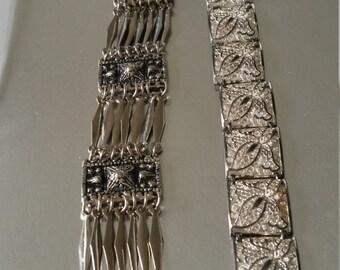 2 silver bracelets vintage elegant