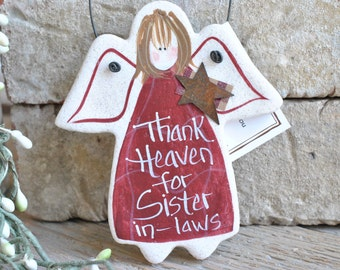 Special Sister in Law Birthday Gift Angel Handpainted Salt Dough Ornament