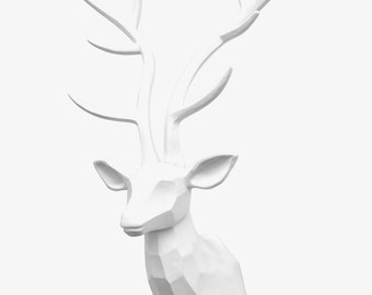 XTRA LARGE - Deer Sculpture Head Wall Mount - White - Home Decor  Faux Taxidermy Wall Mount  TDS0101