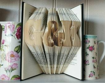 Book Art, folded books, personalised, gift, UK seller