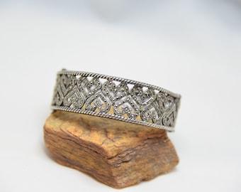 Sterling Silver Heart Marcasite Cuff Bangle Bracelet