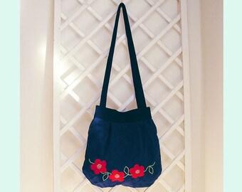 Navy Shoulder Bag With Applique Red Flower Design