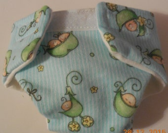 Doll diaper #3 READY TO SHIP adjustable  Cloth diaper washable pea pod baby babies fits bitty baby cabbage patch and many more