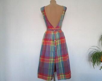 Nice Cotton Dress Vintage / Open Back / Size EUR44 / UK16 / Side Pockets